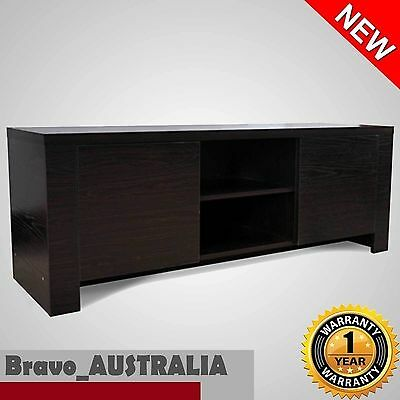 NEW TV Stand Modern Entertainment Unit with 2 Cabinet and 2 shelf Brown Buffet
