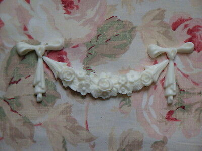 New! Rose Floral Bow Festoon Garland Furniture Applique Architectural Onlay
