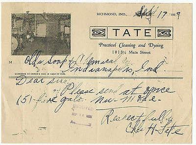 1929 Billhead Richmond Indiana Tate Cleaning and Dyeing