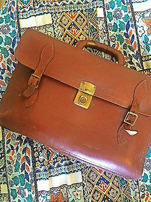 MADE IN ENGLAND 50s 40s Vintage satchel bag briefcase Leather