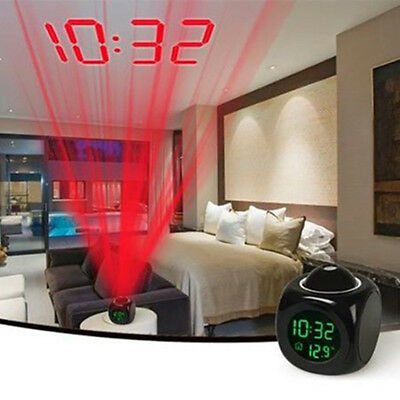 Digital LCD Voice Talking LED Alarm Clock Temperature Projector with Backlight