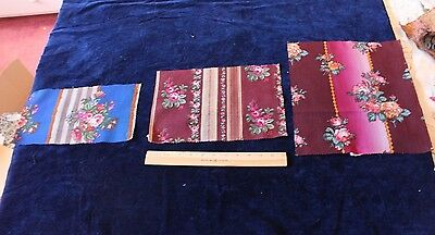 3 French Antique (1840-60) Rose Wool Chalis Textiles~Quilters,Dolls,Design