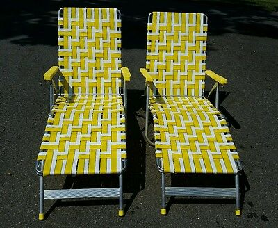 2 Vintage Aluminum Folding Chaise Lounge Webbed Lawn Chair Yellow pair