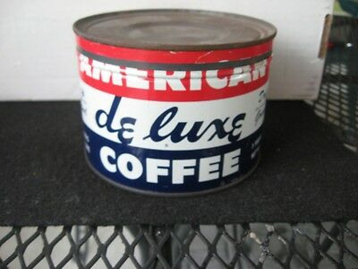Vintage American Deluxe 1 pound coffee tin key wind original lid