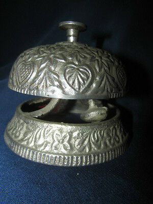 Vintage Style Ornate Silver Plate Front Desk Counter Service Bell Hotel India