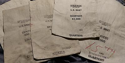 Vintage Canvas Bank Money Bags U.S. Mint- Lot of 5- Very Nice Bags!