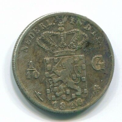 1896 Netherlands East Indies 1/10 Gulden Silver Colonial Coin Nl13201#3