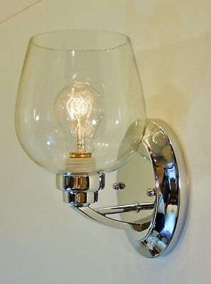 Classic Chrome Finish Wall Sconce with Clear Mouth Blown Glass Vintage Bulb Type
