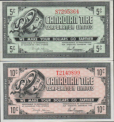 Canadian Tire , 5 & 10 Cents , ND. 1960's , 2 notes lot discount coupon