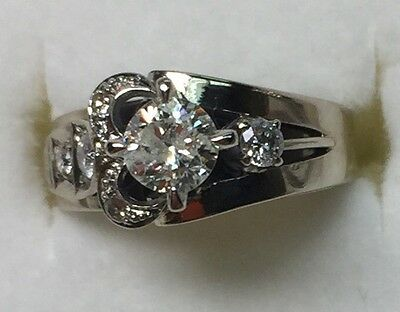 2/3 ct antique natural (REAL ) DIAMOND  ENGAGEMENT ring SOLID 14k White GOLD