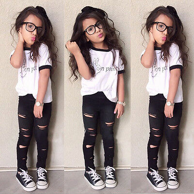 2pcs Girls Kids Clothes Tracksuit Top+Pants Outfits Casual Suit Set 2-3-4-5-6-7Y