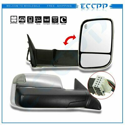 Left+Right 09-12 RAM Power+Heated+LED+Puddle/Signal Tow Flip Up Chrome Mirrors