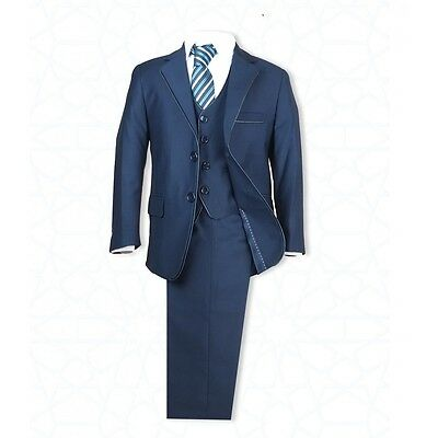 Boys Navy Suit in 5PC Italian Cut Pageboy Wedding Suits Navy Prom Communion Suit