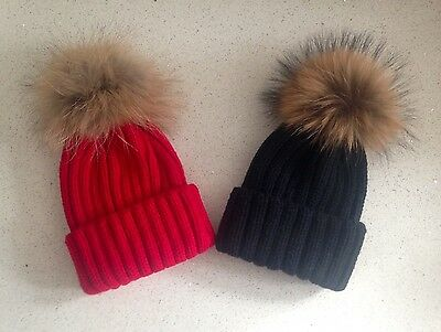 Boy Or Girls Red Or Black Knitted Hat With Fur Pom Pom Ages 2-15 Years UK