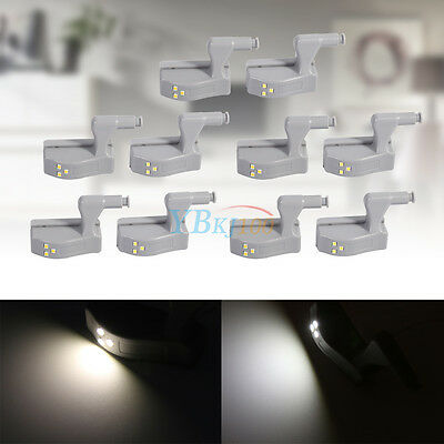 Durable 10Pcs Cabinet Cupboard Induction LED Hinge Attached Lights Lamp Kitchen