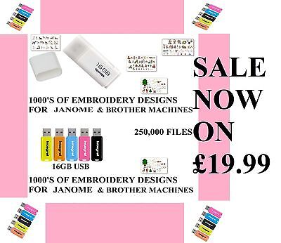 Brother Babylock Janome 16G Usb 250,00 Embroidery Designs Free Gift Em S30