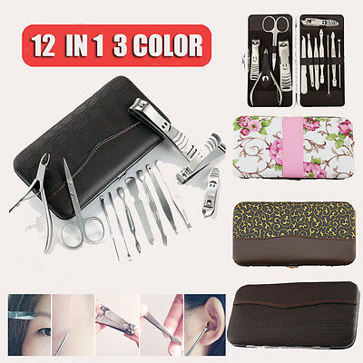 12 pcs Manicure Kit Set Stainless Cuticle Nail Clippers Travel Case Pedicure