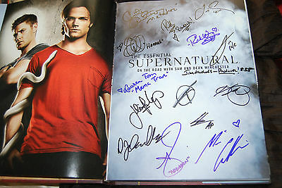 Essential Supernatural Signed Book - 15 Autographs - Mark Sheppard Misha Collins