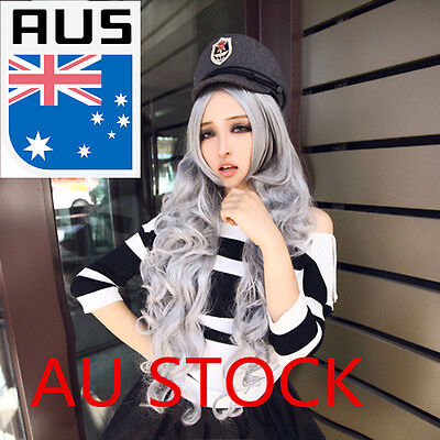 Women Lady Curly Wavy Synthetic Long Grey Hair Wig Anime Cosplay Party Full Wig