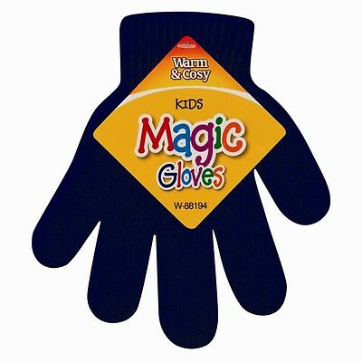 Kids Magic Gloves Navy Blue Pair Winter Warmth Comfortable Girls Boys Acrylic