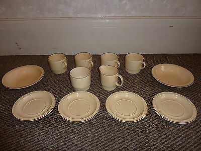 "Poole Pottery - Cups And Saucers, Sugar Bowl, Jug, And 2 Bowls - ""broadstone"""