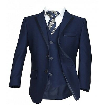 Italian Page Boy Wedding Suit in Navy Blue, Boys Dark Navy Blue Piping Suit