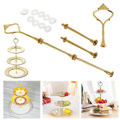 2/3 Tier Cake Plate Cupcake Stand Handle Fittings Wedding Party Silver & Gold UK