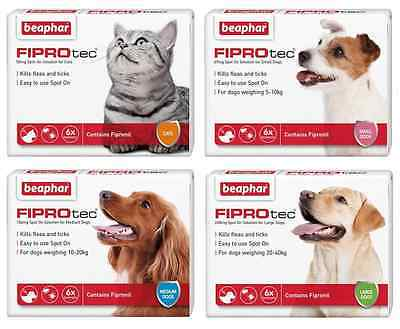 Beaphar FIPROtec Spot-On For Dogs and Cats - Flea and Tick Treatment 6 Pack
