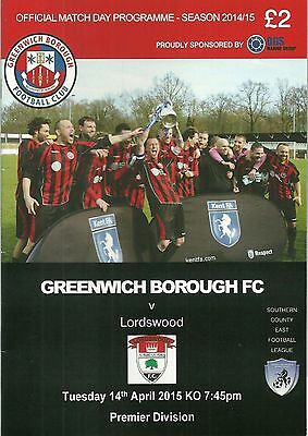 Non-League football programme Greenwich Borough v Lordswood SE Counties Premier