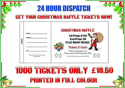 1000 Printed Personalised Raffle Prize Draw Tickets Xmas Presents