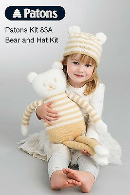 Patons - Easy to Knit Kit - Toy Bear & Hat to Match - Fab DK - Beige/White