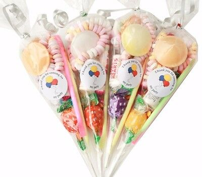 35 x Pre filled Retro Kids  Children's  Sweet  party cone Bags  Free Postage