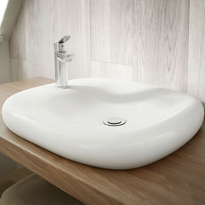 Squared Countertop Basin ; White Ceramic 540mm ; 1 Central Tap Hole ; Bathroom
