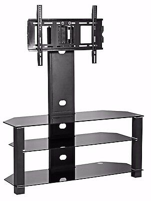 "TV Stand with mount bracket for 32"" to 60"" LCD LED cantilever style black glass"