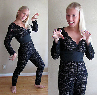 Vintage 1980s Lace Hourglass sexy catsuit jumpsuit catwomen bodysuit tight