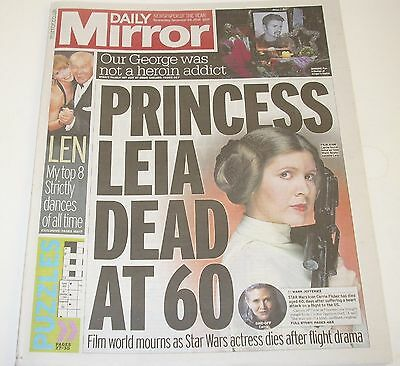 CARRIE FISHER - Star Wars Princess Leia -Daily Mirror Newspaper 28th Dec 2016