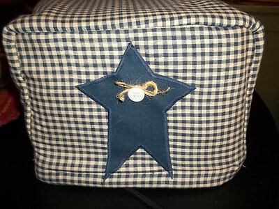 Toaster Cover Navy Blue Cream Rustic Star Americana Fabric Quilted 4 Slice