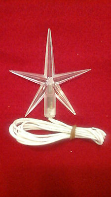 Vintage Large Clear Light-Up Star+Instruction Ceramic Tree Topper RARE Limited