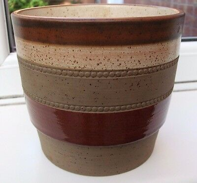 1970's Denby Potters Wheel Hand Painted Planter / Plant Pot in vgc.