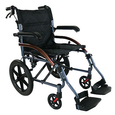 Folding Transit Chair Wheelchair Lightweight Mobility Aid Transport Travel New