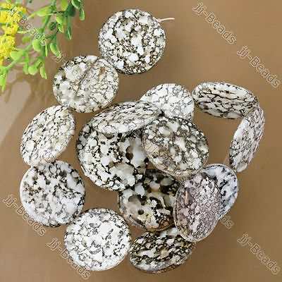 Mother Of Pearl MOP Shell Flat Round Loose Beads 25mm