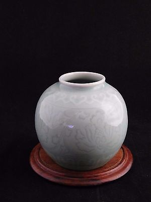 Authentic Vintage Celadon Round Bud Vase Made in China + Wooden Display Stand