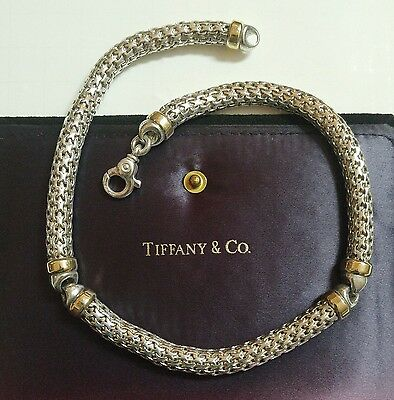 Vintage Authentic Tiffany Co. 18k Gold Sterling Mesh Wheat Link Necklace 18kt
