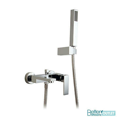 Bathroom Wall Mounted Chrome Solid Brass Lever Bath Shower Mixer Tap - SALE