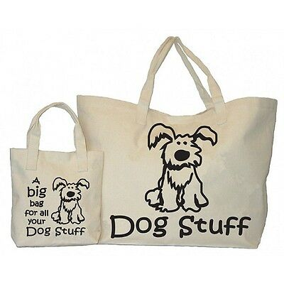 Cotton Canvas DOGS STUFF BIG BAG. 2 bags for price of 1 for all your doggy stuff