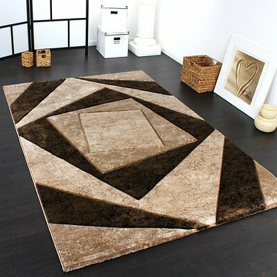 Large Rug Modern Designer Rugs Brown Beige Classic Geo Stylish Small Large Mats