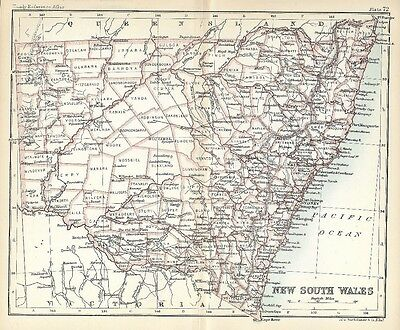 Original 1896 Antique Map NEW SOUTH WALES Australia Sydney Port Macquarie Tathra