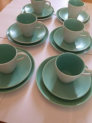 Poole Pottery trios x 6 In Seagull and Ice Green