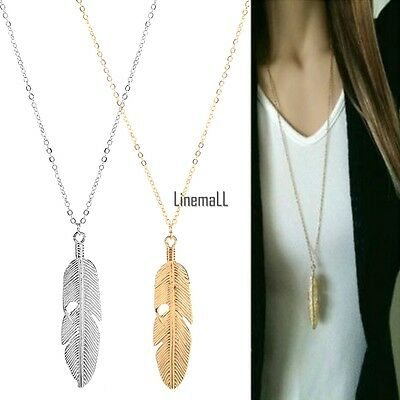 Women Feather Pendant Long Chain Necklace Sweater Statement Vintage Jewelry LM