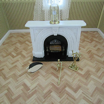 Streets Ahead Dolls House Set Of Fireplace Tools And Clock 12Th Scale New